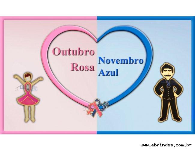 Pins Outubro Rosa Novembro Azul, laço rosa, laço azul