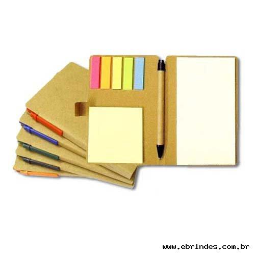 Bloco de anotações ecológico com post-its e caneta
