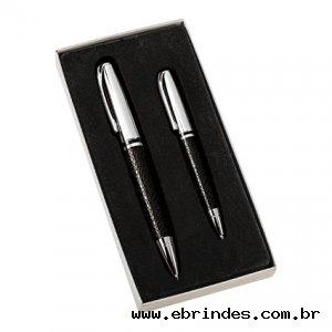 Conjunto canetas cromadas