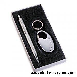 Conjunto caneta e chaveiro de metal
