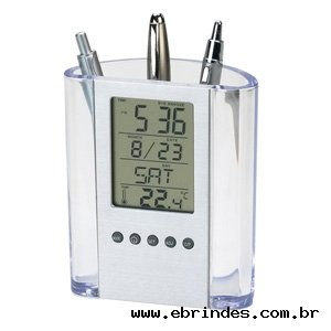 Porta- caneta translúcido com Relógio Digital