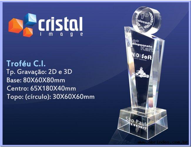 Troféu Cristal Gravação Laser 2D ou 3D