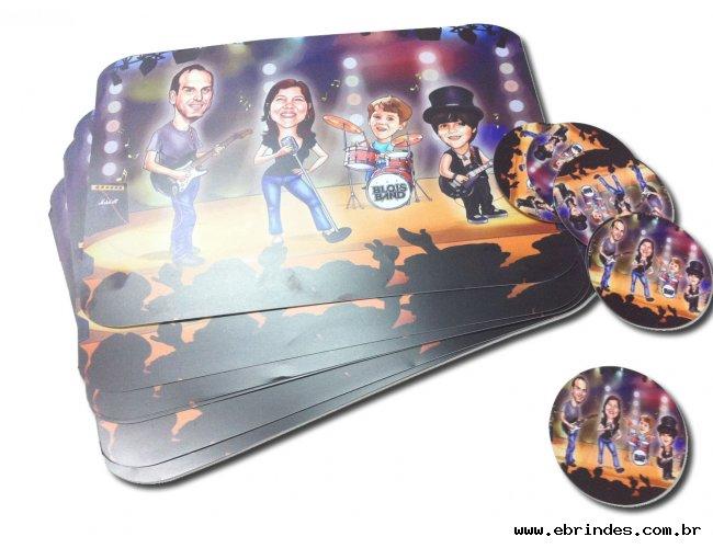 Jogo Americano Personalizado em PVC - Porta Pratos 40 x 25 cm + Porta Copos 8 x 8 cm