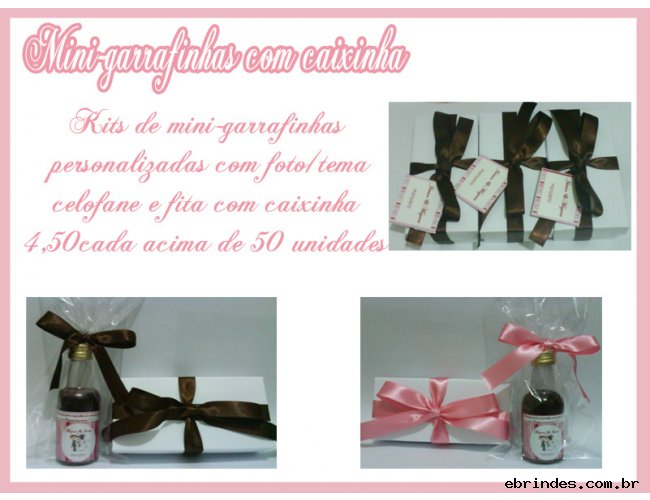 50 kits de mini-garrafinha personalizada  com caixinha