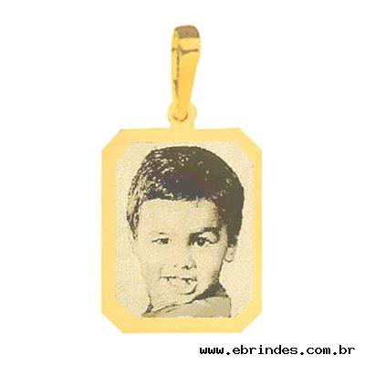 Pingente de Ouro com foto gravada / Fotogravação 21mm x 17.2mm