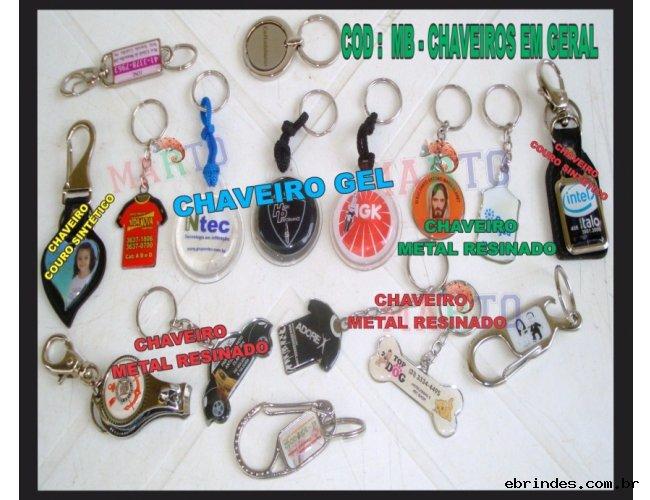 CHAVEIROS EM METAL - PVC - GEL - RESINADOS E MOSQUETES